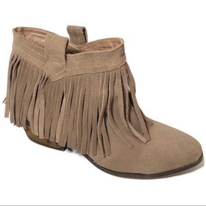 Restricted Suede Fringe Ankle Booties 7.5
